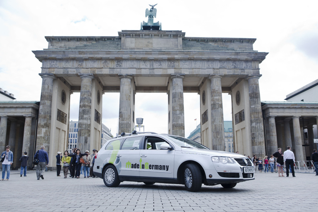 Our self-driving car in front of the Brandenburg Gate Berlin.