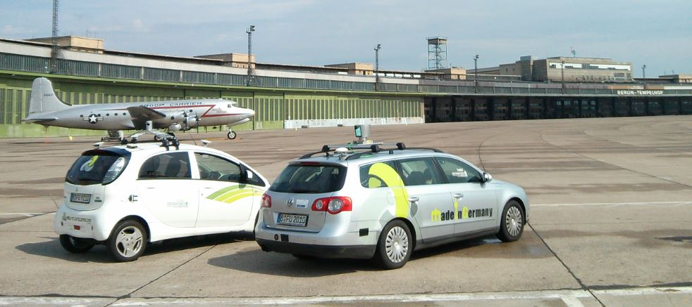 Our two cars e-Instein and MadeInGermany at former Tempelhof Airport.